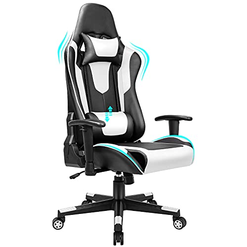 BASETBL Gaming Chair Ergonomic Office Chair, PC Racing Desk Chair with Lumbar Support Adjustable Backrest Headrest and Height, Ideal Swivel Chair for Playing Working-White