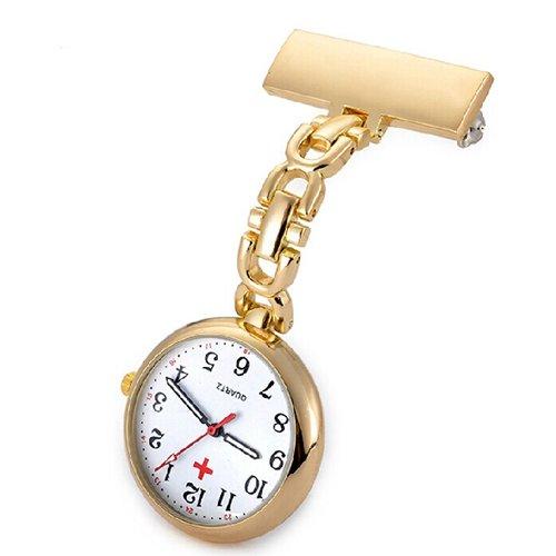 Ellemka JCM-2105 - Schwesternuhr Clip zum Anstecken FOB Kittel Krankenschwester Pflege-r Quarz Puls-Uhr Taschen Metall Ansteck-Nadel Tunika Gewölbtes Glas - Farbe Gold