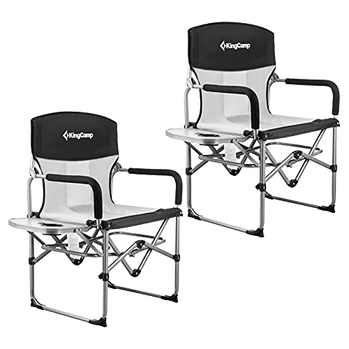 KingCamp Camping Chairs for Adults Folding Chairs Camping Directors Chair with Side Table Heavy Duty Camping Chairs Supports 300lbs for...