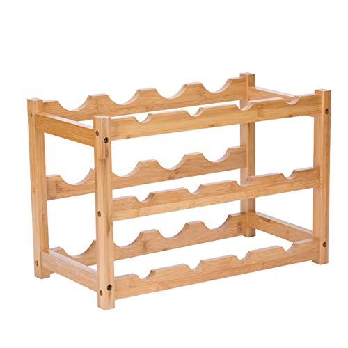 Estante para vino, materiales de madera de bambú más gruesos, estante para gabinete de almacenamiento de vino resistente y duradero, soporte para vino, encimera para despensa, 3 niveles, 12 botellas