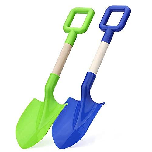 16' Long Kids Beach Spades Sand Shovels Toys Gardening Tools Kit Sandbox Sturdy Scoop Durable Wood Handle ABS Plastic Spade for Garden Sand Snow Backyard Summer Kids Adults 2 Pack- Blue&Green