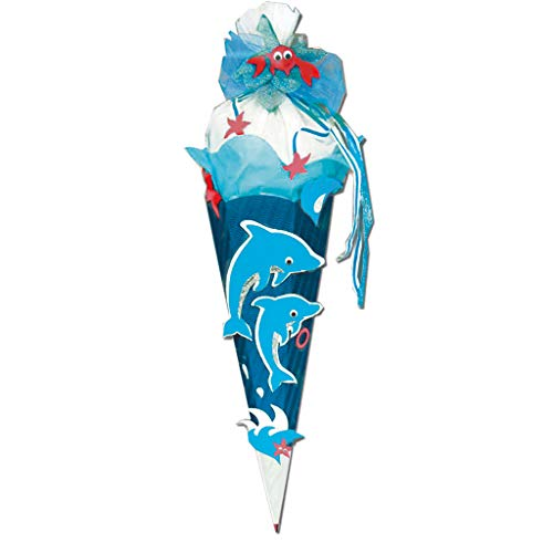 ROTH Schultüten-Bastelset Delfin 68cm 6-eckig Rot(h)-Spitze Kreppverschluss