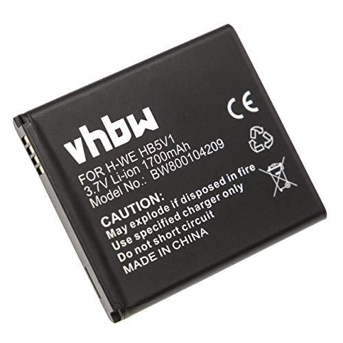 vhbw Batteria Li-Ion 1700mAh (3,7 V) per Smartphone compatibile con Huawei T8833, U8833, Y300, Y300C, Y500. Sostituisce: HB5V1