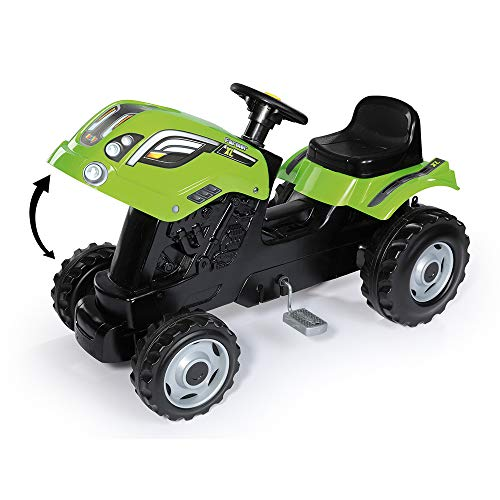 Smoby Green Claas Pedal Ride on Tractor with Detachable Trailer, Openable Bonnet and Horn, Ages 3