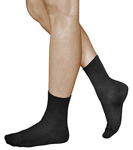 vitsocks Damen bequeme Socken ohne Gummib& Baumwolle (3x PACK) helfen bei Schwellungen, schwarz, 39-42