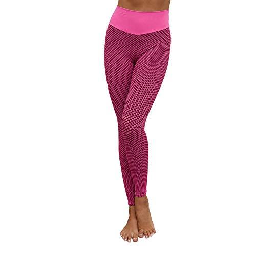 Koitniecer Mujeres Levantamiento de glteos Pantalones de Yoga Cintura Alta Fruncido Control de Barriga Leggings Botn Medias de Burbuja (Pink Red, Large)