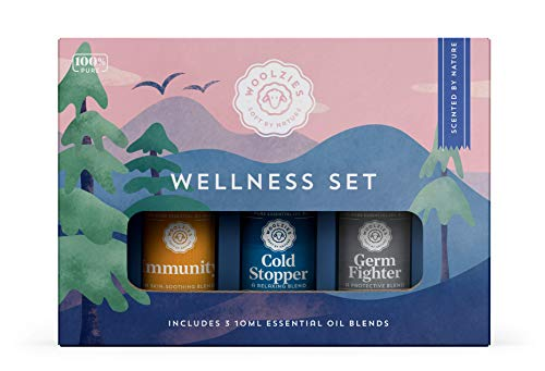 Woolzies 100% Pure Wellness Essential Oil Blend Set | Good Health Germ Fighter Cold Stopper | Natural Cold Pressed Highest Quality Undiluted Therapeutic Grade Oils| for Diffusion Internal or Topical