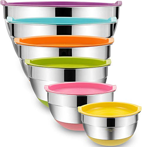 Mixing Bowls with Airtight Lids, 6-Piece Stainless Steel Metal Bowls by Umite Chef, Measurement Marks & Colorful Non-Slip Bottoms Size 7, 3.5, 2.5, 2.0,1.5, 1QT, Great for Mixing & Serving