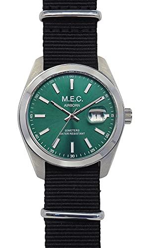Reloj de hombre analógico de cuarzo con correa de la OTAN Militar Verde