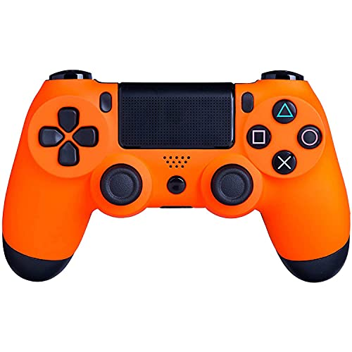 Wireless Controller Compatible for PS4/PC with Dual Vibration, Mini LED Indicator, High-Sensitive PS4 Controller with Anti-Slip, Wireless Bluetooth with USB Cable (Sunset Orange)