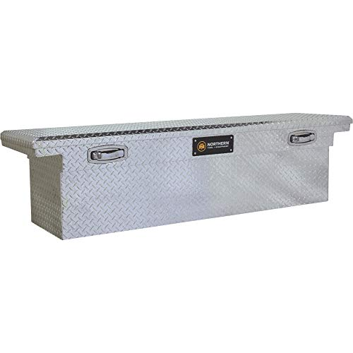 Northern Tool Deep Low Profile Crossover Truck Tool Box with Removable Tray - Aluminum, Diamond Plate, Shotgun Latches, 69in. x 20in. x 19in. Model Number 36012730