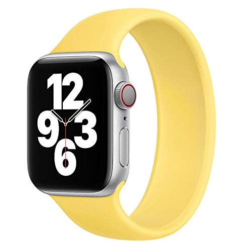 Solo Correa para Apple Watch 6 5 / SE band Bandas elásticas de silicona Sport para Iwatch Series 6 / SE / 5 4 3 Pulsera-amarillo, 38 mm o 40 mm