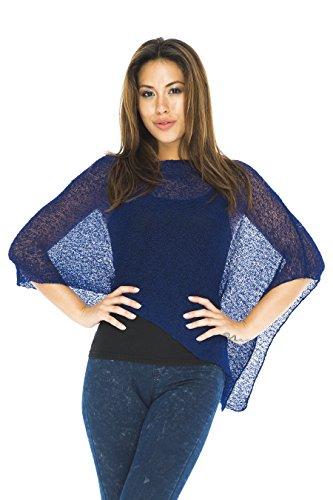 Back From Bali Womens Sheer Poncho Shrug Bolero, Lightweight Summer Shrug Pullover Sweater Navy