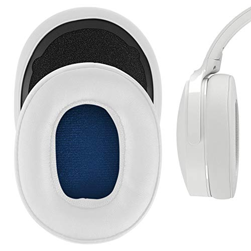 Geekria QuickFit Protein Leather Replacement Ear Pads for Skullcandy Crusher Wireless, Crusher Evo, Crusher ANC, Hesh 3 Headphones Earpads, Headset Ear Cushion Repair Parts (White)