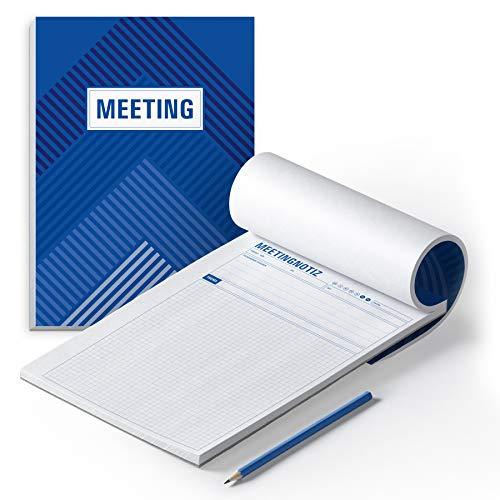itenga Stripes Design-Notizblock 2er-Set (Meeting (DIN A4) Besprechungsprotokoll)