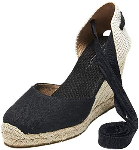 Tomwell Sandalias Mujer Cuña Alpargatas Moda Bohemias Romanas Sandals Rivet Playa Verano Tacon Zapatos A Negro 39 EU