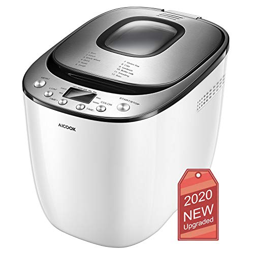 Bread Maker, 【2020 Upgraded】AICOOK 2LB Programmable Bread Machine With Gluten Free Menu setting, 12 Programs, 2 Loaf Sizes, 3 Crust Colors, 13 Hours Delay Timer, 1 Hour Keep Warm, LED Display