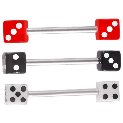 bodyjewellery 3Pcs 14g 14 Gauge 1.6mm 18mm Steel Tongue Ring Straight Barbell Dice Tounge bar Set Body Piercing AHXQ