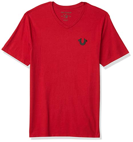 True Religion Men's Classic Horseshoe Logo Short Sleeve V Neck Tee, Ruby Red, Large