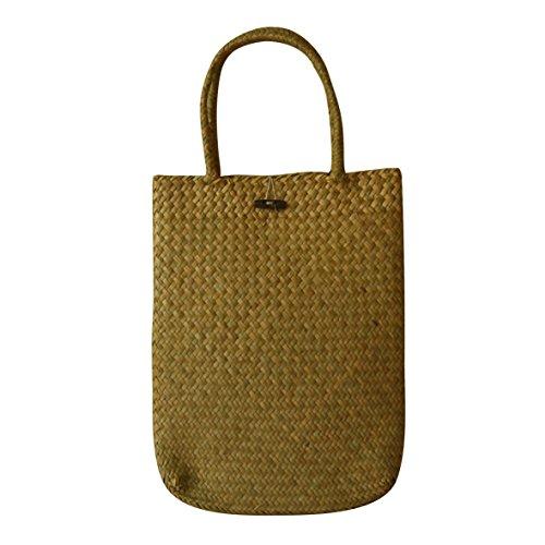 CVHOMEDECO. Primitives Rustic Natural Seagrass Shoulder Bag, Chic Beach Tote Stylish Handbag. 13 x 17 Inch