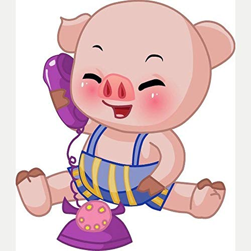 Kit de Pintura de Diamante Cerdo animal de teléfono de dibujos animados 5D Pintura de Diamante Puesta para Niños Adultos,Inicio Decoración de Pared y Manualidades30x40 cm(Sin marco)