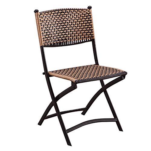 Folding Chairs Balcón Tejido Silla de Mimbre Silla Trasera Taburete de Mimbre Silla Plegable para Exteriores Silla de Ocio Tejida a Mano