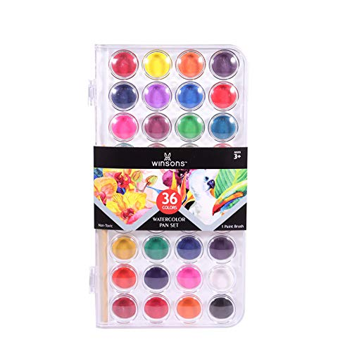 WINSONS Watercolor Paint, Washable, Non-toxic and Rich Pigment 36 Colors Water Color Set Great for Student / Kids and Beginner Artists
