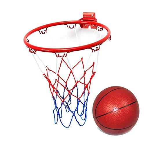 Aro de baloncesto de 25,4 cm, aro de portería de baloncesto montado en la pared con 1 mini pelota de baloncesto, portería de baloncesto colgante en interiores y exteriores