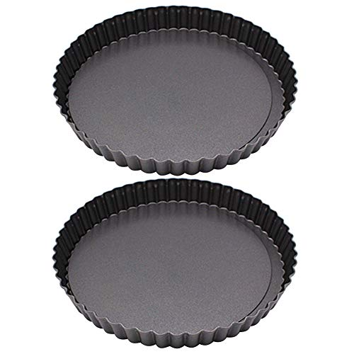 FRIDG 2Pcs Round Bread Baking Mold Nonstick Oven Bakeware Pie Cake Baking Pan Set Black 24cm