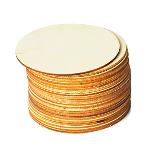 Wood Circles for Crafts, 24-Count Unfinished Wooden Round Disc Cutouts, 4 Inches in Diameter