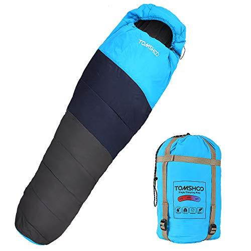 TOMSHOO Sacco a Pelo Mummia 87'x32 Portatile e Leggero Impermeabile con Sacco a Compressione Ideale per Il Campeggio, l'escursionismo, Il Viaggio, Lo Zaino in Spalla e Le attività all'Aria Aperta