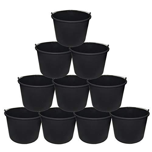 10x Baueimer DEWEPRO® - Mörteleimer - Putzeimer - Extra stabil mit Henkel und Skalierung - 20l, 20 Liter