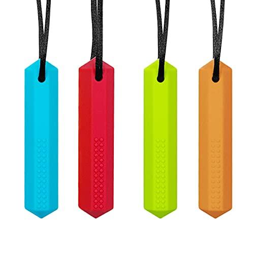 Yuccer 4 Stück Silikon Zahnen Halskette Chew Halskette Autismus Spielzeug Kauen Beißring Halskette für Kinderkrankheiten, Autismus, ADHS, Oral Motor (Blau + Grün + Rot + Orange)