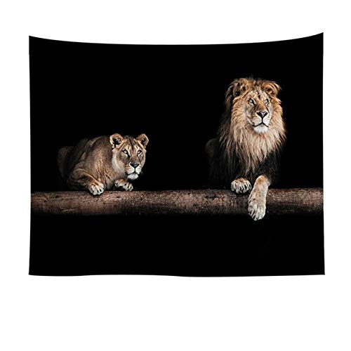 mmzki Animal Indien Tapisserie Tenture Murale Home Room Decor Plage Couverture Yoga Couvre-lit Canapé Couverture Dortoir Couverture Lion Tigre 3 150x200 cm