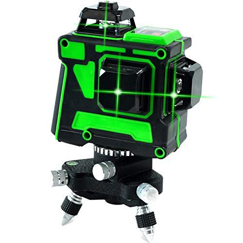 12 linee Laser Level 3 X 360 Green Beam Straight/Tilt Line 3 Piano ricaricabile Base rotante 3D...