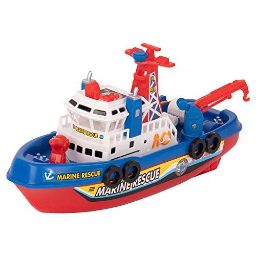 Idena 40136 Feuerlöschboot Marine Rescue, elektrisch mit Sound und Lichtfunktion, kann Wasser Spritzen, ca. 26 x 16 x 10 cm groß, batteriebetrieben