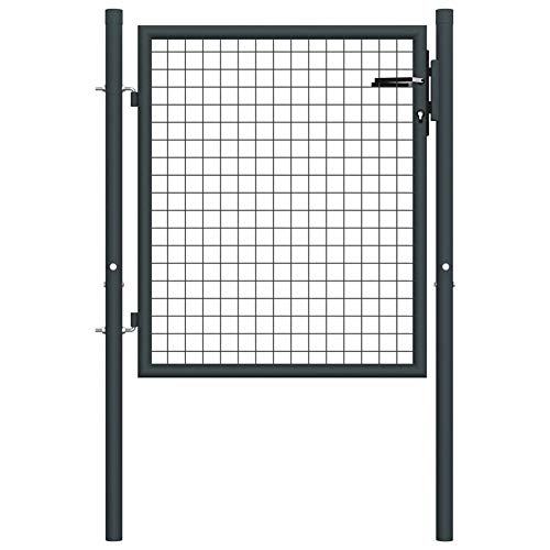 Garden Fence Mesh Gate,Galvanised Steel with Powder-Coated Finish Anthracite,Total Size: 100 x 175 cm,Door Size: 85,5 x 125 cm,Against Rust and Corrosion,by BIGTO(3 Keys)