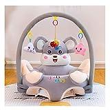 WGXY Baby-Sitzstuhl,Baby-Sofa, Cartoon Plüsch Sitz,Tierform Spielzeug,Bequem für Neugeborene, 3-16 Monate,Grau