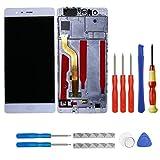 swark Pantalla LCD compatible con Huawei P9 Standard EVA-L09 EVA-L19 EVA-L29 Pantalla táctil blanca...