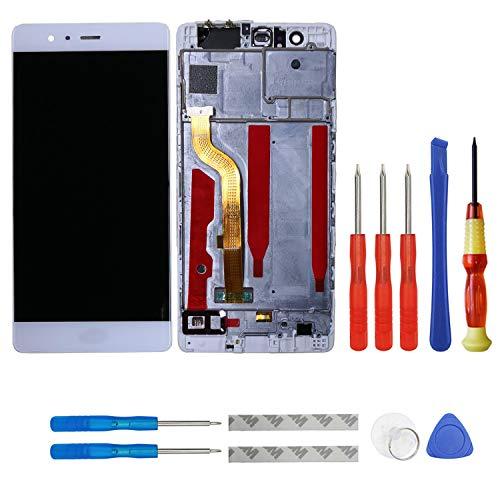 Swark - Pantalla LCD Compatible con Huawei P9 Standard EVA-L09 EVA-L19 EVA-L29 con digitalizador bildschirm y Montura + Herramientas, Color Blanco