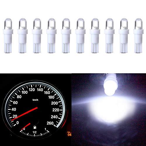10 Pack T5 Wedge 1 LED Car Auto Dashboard Gauge Side Light Bulb Lamp 37 58 70 73 74 White 12V
