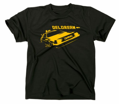 Zurück in die Zukunft Kult T-Shirt, Delorean Motiv, schwarz, S
