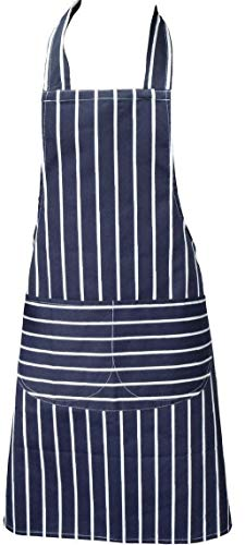 Kochschürze, Blau, Schürze mit zwei Fronttaschen und maschinenwaschbar, Küchenschürze
