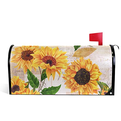 "Wamika Watercolor Sunflowers Welcome Magnetic Mailbox Cover Wraps Yellow Flower Standard Size 20.8""(L) x 18""(W) MailWrap for Outside Garden Home Decor"
