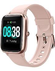 YONMIG Smartwatch, fitnessarmband, tracker, volledig touchscreen, horloge, IP68 waterdicht, polshorloge, smart watch met stappenteller, hartslagmeter, stopwatch, voor dames, kinderen, sporthorloge voor iOS en Android, roze