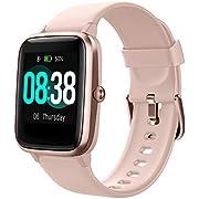 Smartwatch, YONMIG Fitness Armband Tracker Voller Touch Screen Uhr IP68 Wasserdicht Armbanduhr Smart Watch mit Schrittzähler Pulsmesser Stoppuhr für Damen Kinder Sportuhr für iOS Android (Rosa)