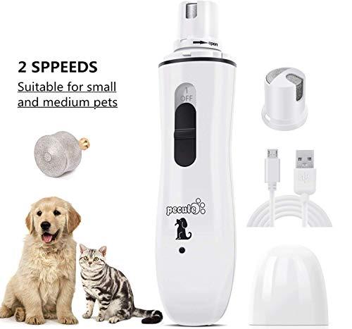 Pecute - Tagliaunghie per Cani Elettrico, Accessori per la Cura Delle Unghie Dei Cani, Ottimo per Cani di Taglia Piccola, con Ricarica USB, 1 Testine - Bianco, M -