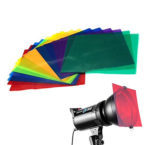 Farbige Overlays Transparente Farbfolie Kunststoff Folien Korrekturgel Licht Filter Blatt, 20 x 20 cm, 8 verschiedene Farben