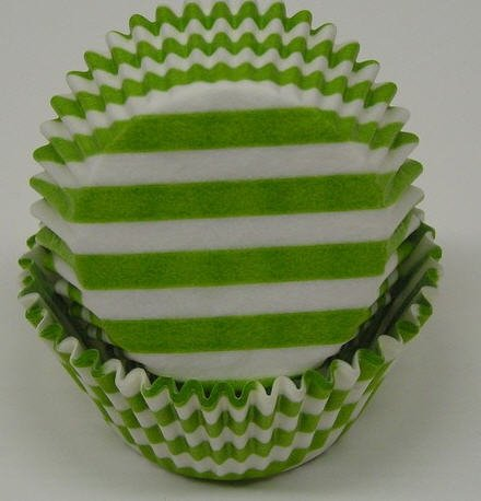 Cakesupplyshop Ck8y3u - 50pack Lime Green & White Stripes & Swirl Standard Cupcake Baking Cup Liners