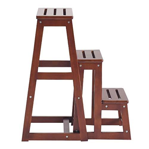 Escabeau Marchepied Banc de Chaussure Portable Chaises Escalier Multifonction étagère de Rangement/Fleur Support en Bois 3 étapes Ladder QIQIDEDIAN